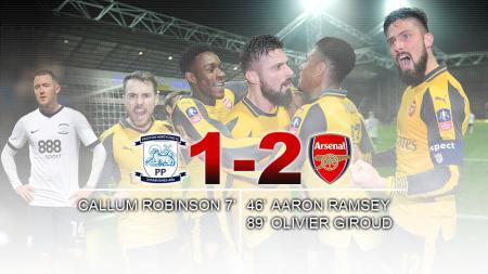 Olivier Giroud jadi pahlawan kemenangan Arsenal saat bertandang ke Preston North En. - INDOSPORT