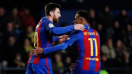 Selebrasi Lionel Messi dan Neymar. - INDOSPORT
