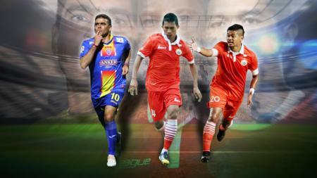 kiri-kanan: Cristian Gonzales, Ismed Sofyan dan Bambang Pamungkas - INDOSPORT