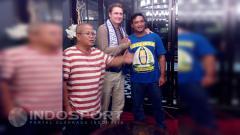 Indosport - Timo Scheunemann bersama Ketua Umum Balistik Endrik Jatmiko dan Ketua Umum Persiba Syahril HM Taher.