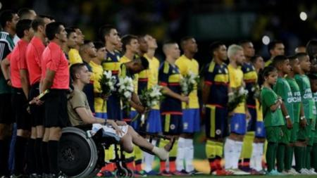 Laga persahabatan Brasil vs Kolombia yang dihadiri pemain Chapecoense. - INDOSPORT