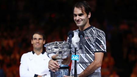 Roger Federer memenangkan Australia Terbuka 2017. - INDOSPORT