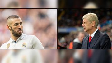 Penyerang Real Madrid, Karim Benzema dan pelatih Arsenal, Arsene Wenger.