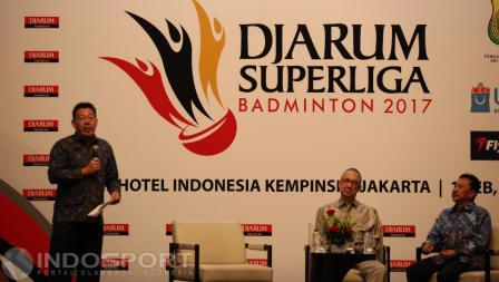 Suasana konferensi pers drawing Djarum Superliga Badminton 2017.