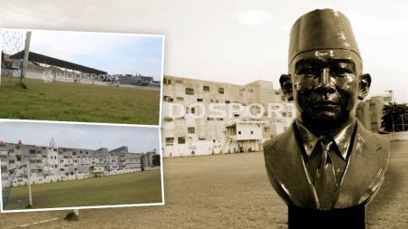 Patung MH Thamrin dan stadion Stadion VIJ Petojo. - INDOSPORT