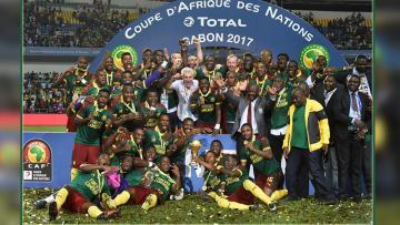 Selebrasi Timnas Kamerun.