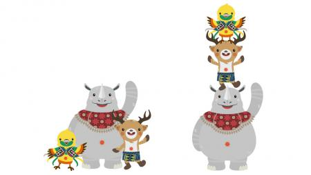 Bhin Bhin, Atung, dan Ika adalah maskot Asian Games 2018. - INDOSPORT