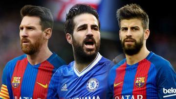 Kiri-kanan: Lionel Messi, Cesc Fabregas, dan Gerard Pique.