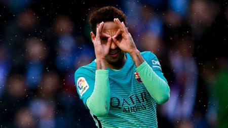 Selebrasi Neymar usai cetak gol ke gawang Alaves. - INDOSPORT