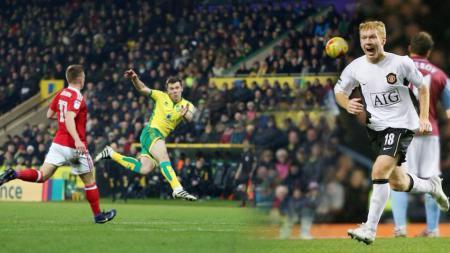 Pemain Norwich City, Jonny Howson saat melesakkan gol tendangan voli yang serupa Paul Scholes. - INDOSPORT