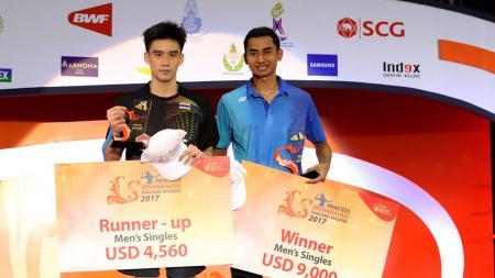 Tommy Sugiarto berhasil menjuarai Thailand Masters 2017 usai kalahkan pebulutangkis tuan rumah, Kantaphon Wangcharoen. - INDOSPORT