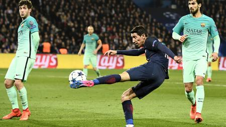Angel di Maria sumbangkan dua gol ke gawang Barcelona di Liga Champions. - INDOSPORT