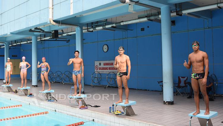 Para atlet Pelatnas SEA Games 2017 dan Asian Games 2018 sebelum berlatih.