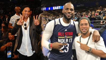 Bintang sepakbola Ronaldinho pose dengan LeBron James.