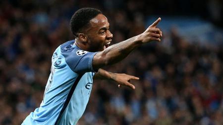 Selebrasi pemain Manchester City, Raheem Sterling. - INDOSPORT