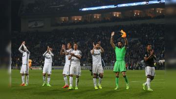 Juventus kala merayakan kemenangan mereka atas Porto.