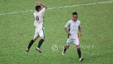 Selebrasi CR7 pemain Setia U-17 usai berhasil mencetak gol ke gawang Setia U-17.
