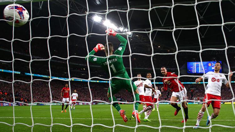 Gol pamungkas Zlatan Ibrahimovic yang menjadi penentu kemenangan Man United atas Southampton.