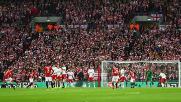 Situasi pertandingan final Piala Liga Inggris 2016/17 antara Manchester United melawan Southampton.