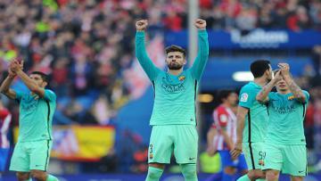 Para pemain Barcelona merayakan kemenangan atas Atletico Madrid.