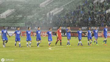 Aksi selebrasi pemain Persib Bandung.
