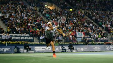 Roger Federer di babak kedua Dubai Terbuka 2017.
