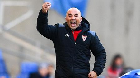 Ekspresi pelatih Sevilla, Jorge Sampaoli di pinggir lapangan. - INDOSPORT