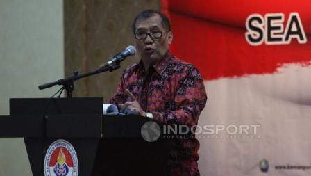 Pemaparan Ketum Satlak Prima, Achmad Sutjipto pada acara Konsolidasi Persiapan SEA Games 2017 dan Asian Games 2018.