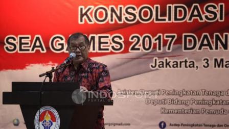Ketum Satlak Prima, Achmad Sutjipto pada acara Konsolidasi Persiapan SEA Games 2017 dan Asian Games 2018.