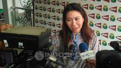 Indosport - Susy Susanti saat diwawancarai di Pelatnas PBSI.
