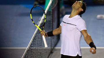 Ekspresi Rafael Nadal saat memenangkan pertandingan.