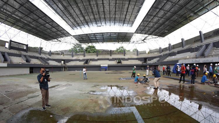 Kondisi terkini renovasi venue Tenis Indoor Senayan.