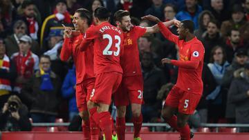 Selebrasi pemain Liverpool usai menundukkan Arsenal dengan skor 3-1.