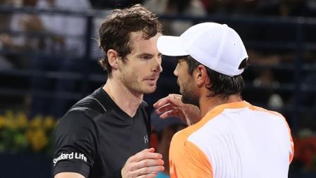 Fernando Verdasco memberikan ucapan selamat kepada Andy Murray.