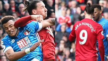 Zlatan Ibrahimovic saat berduel dengan pemain Bournemouth.