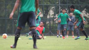 Suasana latihan Timnas U-22 di Lapangan SPH Karawaci, Tangerang.