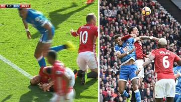 Penyerang Manchester United, Zlatan Ibrahimovic ketika berduel dengan pemain Bournemouth, Tyrone Mings.