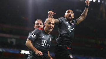 Pemain Bayern Munchen merayakan kemenangan atas Arsenal.
