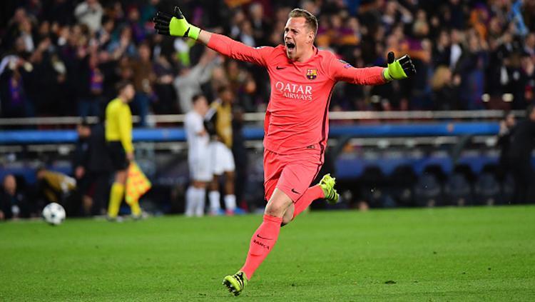 Ter Stegen dianggap sebagai salah satu faktor penting di balik kemenangan Barcelona atas PSG. Copyright: Dave Winter/Icon Sport