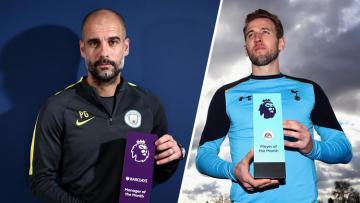 Pep Guardiola dan Harry kane mendapat penghargaan bulan Februari 2017.