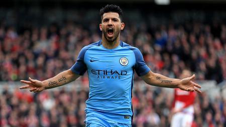 Selebrasi Sergio Aguero usai cetak gol ke gawang Middlesbrough. - INDOSPORT