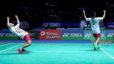 Momen kemenangan Marcus Fernaldi Gideon/Kevin Sanjaya Sukamuljo. - INDOSPORT
