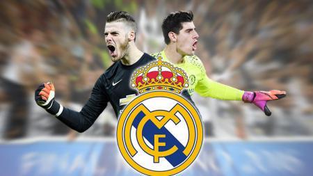 Thibaut Courtois dan David de Gea menjadi target klub raksasa Spanyol, Real Madrid. - INDOSPORT