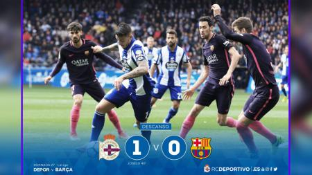 Barcelona tertinggal lebih dulu oleh Deportivo dengan skor 0-1. - INDOSPORT