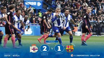 Barcelona kalah dari Deportivo dengan skor 1-2.