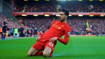 Gelandang serang Liverpool, Emre Can mencetak gol kemenangan saat melawan Burnley.