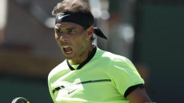 Rafael Nadal dalam babak dua turnamen Indian Wells 2017.