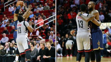 LeBron James berduel dengan James Harden di markas Houston Rockets. - INDOSPORT