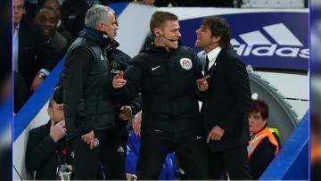 Pelatih Manchester United, Jose Mourinho terlihat bersitegang dengan pelatih Chelsea, Antonio Conte.