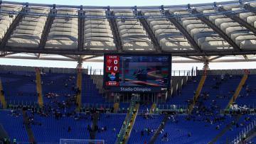 Salah satu tribun di Olimpico yang sepi dari penonton karena gelombang protes dari ultras Curva Sud.